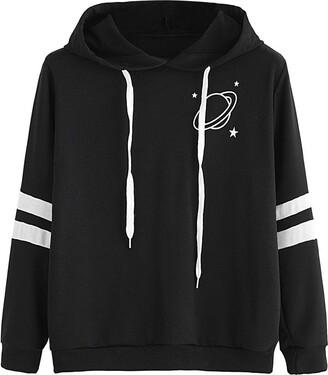 Hansee Hot Sale! Fashion Womens Long Sleeve Sweatshirt Planet Printed Hoodie Jumper Causal Outerwear Tops Blouse (Black XL)