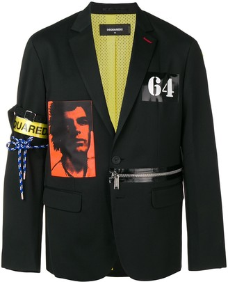 DSQUARED2 Zip Detail Printed Blazer