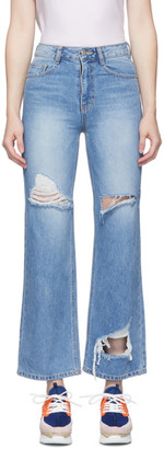 Sjyp Blue Vintage Wash Cut Jeans