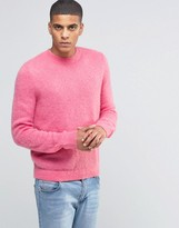 Asos Mohair Mix Crew Neck Jumper In Pink