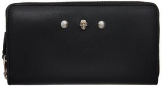 Alexander McQueen Black Skull and Stud Zip Around Wallet