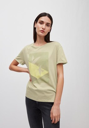 Armedangels Naalin Graphic Doves T Shirt - NAALIN GRAPHIC DOVES / Small / birch leaf