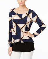 Alfani Petite Printed Overlay Top, Only at Macy's