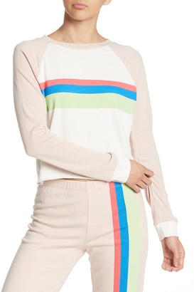 Wildfox Couture Beach House Mellow Stripe Crop Cotton Sweatshirt