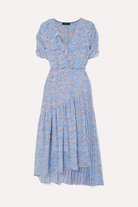Markus Lupfer Nevada Wrap-effect Ruffled Floral-print Georgette Midi Dress - Sky blue