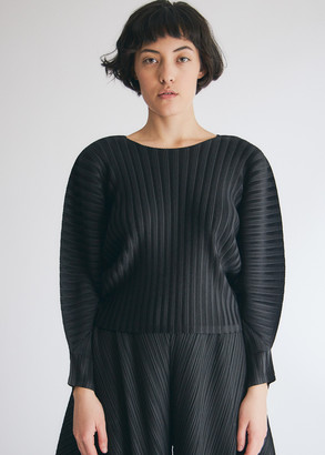 Pleats Please Issey Miyake Women's Long Sleeve Rib Pleats Top in Black, Size 3 | 100% Polyester