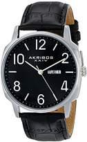 Akribos XXIV Men's AK801SSB Quartz Movement Watch with Black Dial and Leather Strap