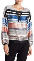 Laundry by Shelli Segal Striped Lace-Up Blouse