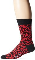 Happy Socks Men's 1pk Unisex Combed Cotton Crew-Black/Red Artsy