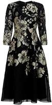 Lela Rose Floral Fil Coupe A-Line Dress