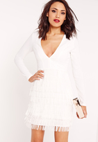 Missguided Plunge Fringed Skirt Bodycon Dress White
