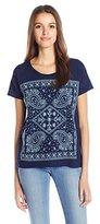 Lucky Brand Women's Embroidered Indigo Bandana T-Shirt