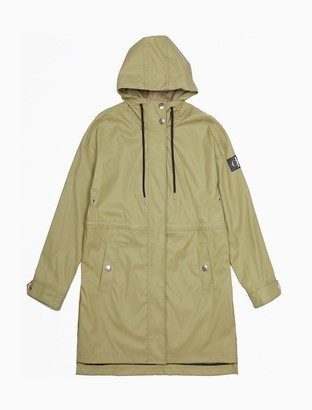 Calvin Klein Solid Monogram Logo Patch Hooded Jacket