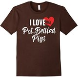 Men's I Love Pot-Bellied Pigs T-Shirt for Animal Lovers XL