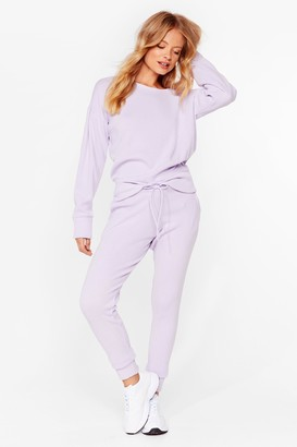 Nasty Gal Womens We're Knit Kidding Sweater and Joggers Set - Lilac