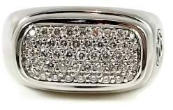 David Yurman 18k White Gold Narrow Pave Diamond Signet Ring Size 9.75