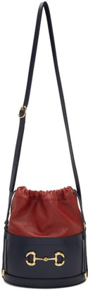Gucci Red and Navy 1955 Horsebit Bucket Bag