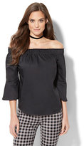 New York & Co. 7th Avenue Design Studio - Madison Stretch Shirt -Bell-Sleeve Off-The-Shoulder