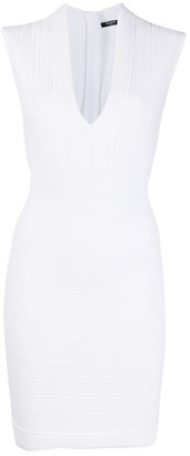 Balmain V-neck Pleated Dress