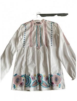 Antik Batik White Cotton Top for Women