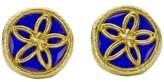 Tiffany & Co. Schlumberger Yellow Gold Blue Enamel Clip-On Earrings