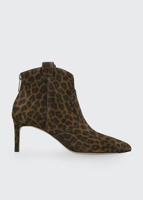Veronica Beard 65mm Lexi Leopard-Print Suede Zip Booties