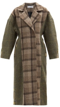 Rave Review Double-breasted Checked Deadstock-wool Coat - Khaki Multi