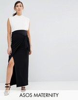 Asos Over The Bump Knot Side Maxi Skirt