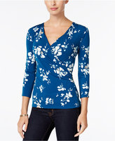 Charter Club Petite Faux-Wrap Printed Top, Only at Macy's