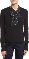 Veronica Beard Arrow Silk-Trim Cashmere Sweater, Black