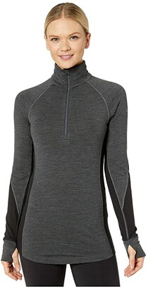 Icebreaker 260 Zone Merino Baselayer Long Sleeve 1/2 Zip (Jet Heather/Black) Women's Clothing