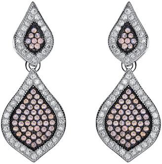 Genevive Black Silver Cz Earrings
