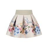 MonnaLisa MonnalisaBaby Beige Floral Neoprene Skirt