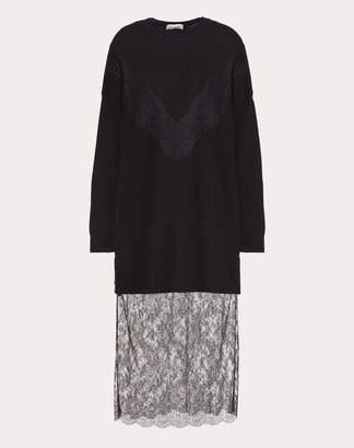 Valentino Lace Knit Dress Women Black Virgin Wool 70%, Cashmere 30% S