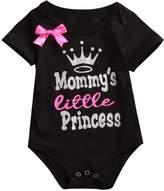 Mrs.Baker'Home 2 Styles Newborn Baby Girls Lovely Color Words Little Bow Short Romper Bodysuit (12-18 M, )