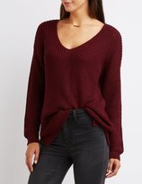 Charlotte Russe Lace-Up Open Back Sweater