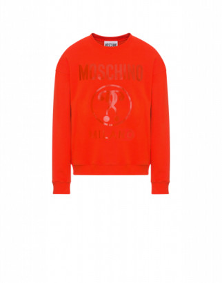 Moschino Cotton Sweatshirt With Double Question Mark Print Man Red Size 44 It - (34 Us)