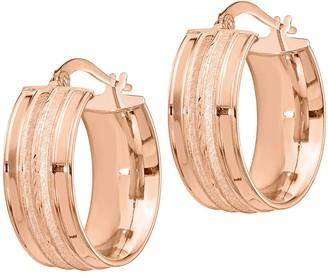 Italian Gold Satin Channel Hoop Earrings, 14K