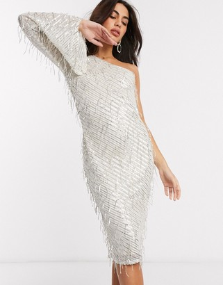 Goddiva one sleeve embelished midi dress in silver