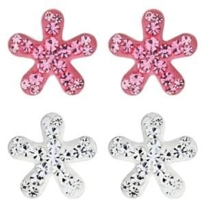 Rhona Sutton 4 Kids Children's Crystal Flower Stud Earrings Set of 2 in Sterling Silver