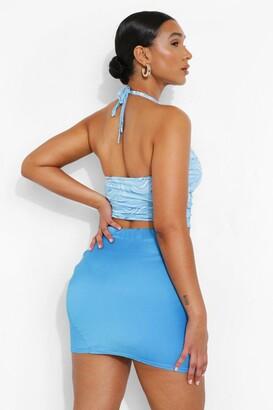 boohoo Dipped Waist Satin Mini Skirt