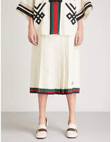 Gucci Stripe-trimmed linen and silk-blend midi skirt