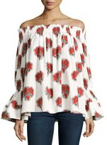 Alexander McQueen Poppy Off-the-Shoulder Bell-Sleeve Cotton Top