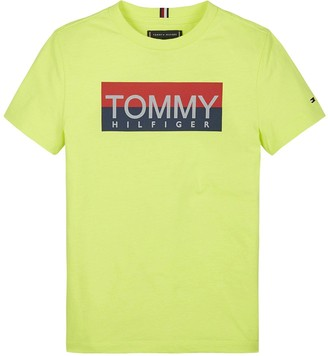 Tommy Hilfiger Boys Reflective Logo Short Sleeve T-Shirt - Yellow