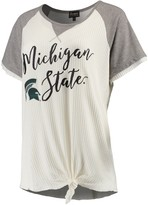 Unbranded Women's Cream/Gray Michigan State Spartans Believe It Or Not Raglan Waffle T-Shirt