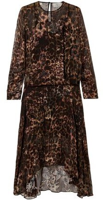 Preen by Thornton Bregazzi Andrea Asymmetric Leopard-print Burnout Silk-blend Dress