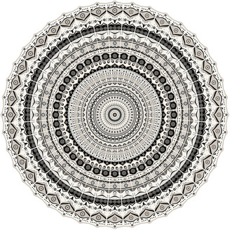 PODEVACHE - Mandala Round Vinyl Floor Mat - White/Black