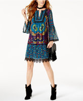 INC International Concepts Anna Sui x Silk Printed Peasant Dress, Created for Macy's