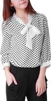 Allegra K Women Bow Neck Polka Dotted Blouses Summer Dressy Tops L