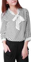 Allegra K Women Bow Neck Polka Dotted Blouses Summer Dressy Tops XL